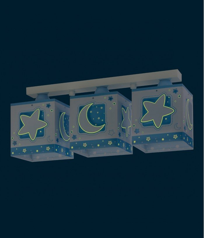 3 light Kids ceiling lamp Moonlight blue