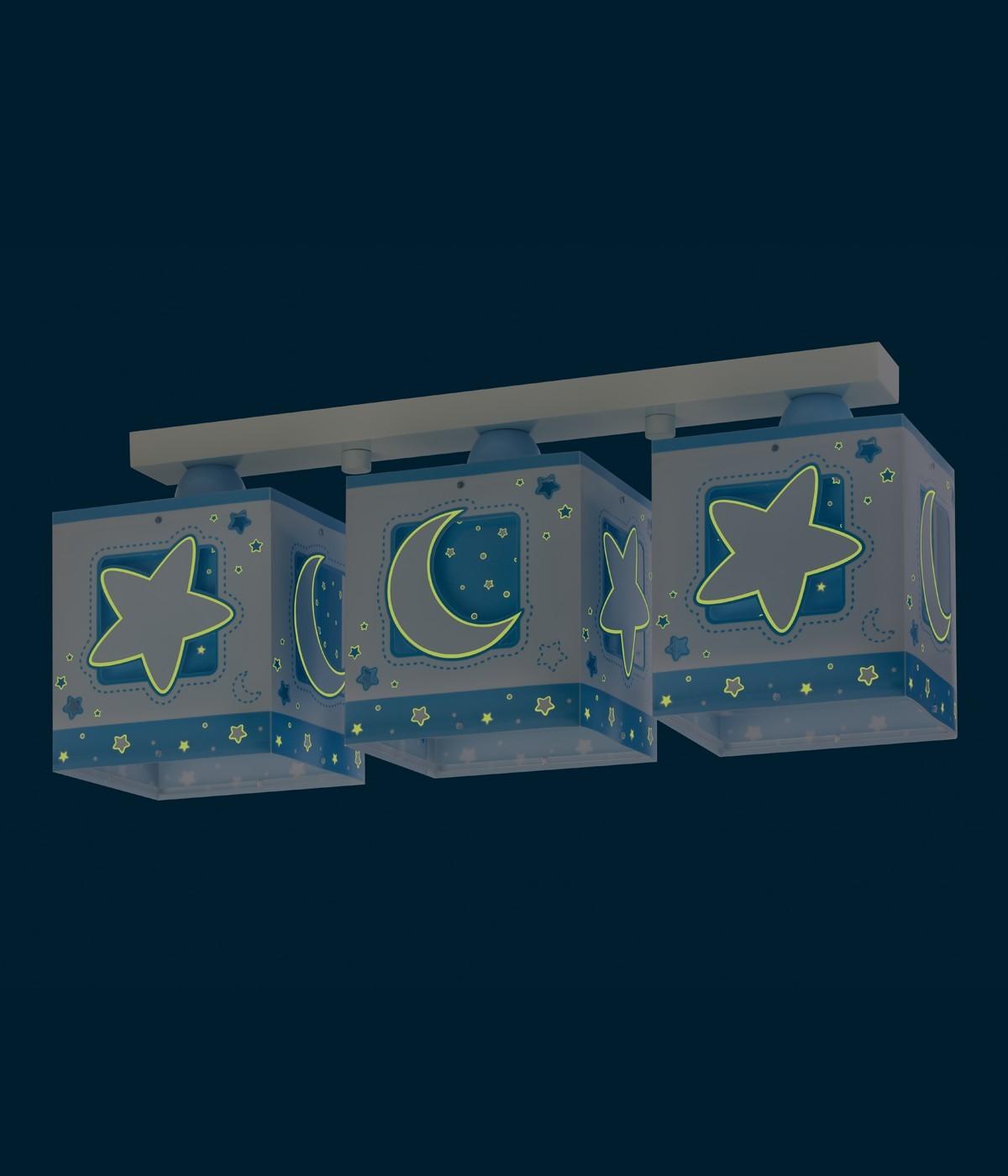 Plafon três luzes Moonlight azul