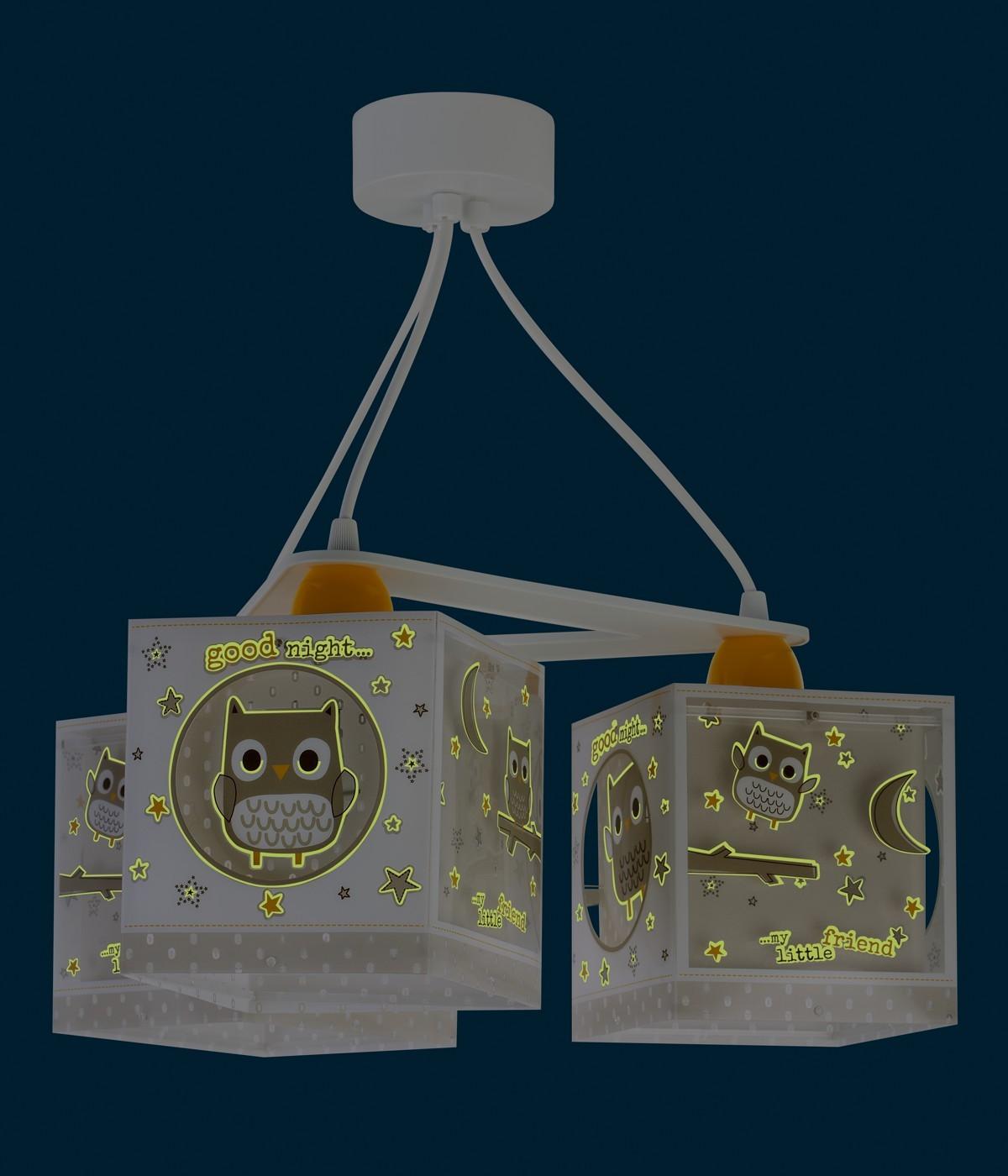 Candeeiro infantil de tecto três luzes Good Night