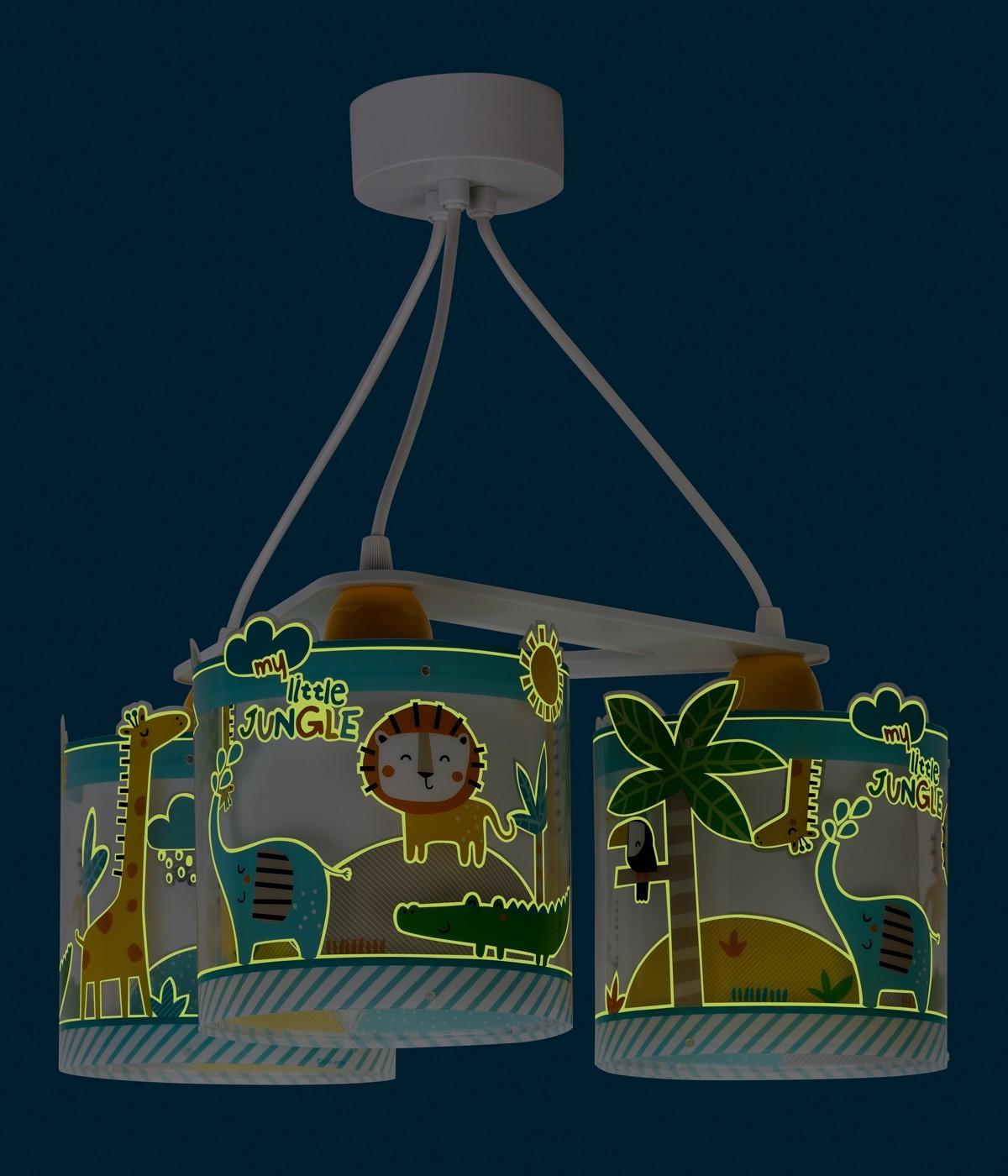 Lampadario per bambini 3 luci Little Jungle