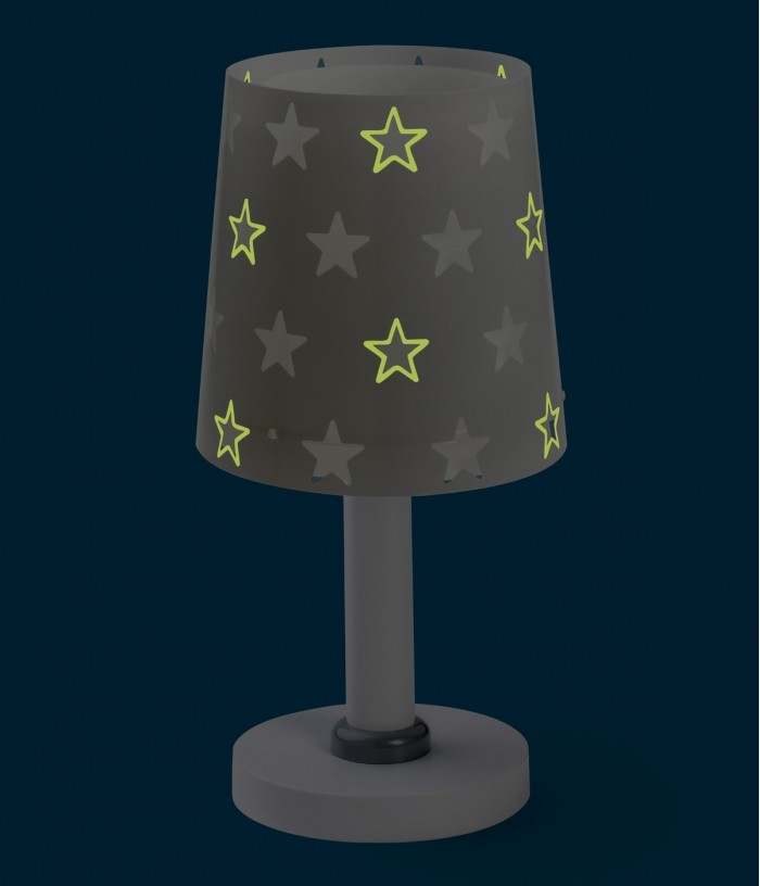 Candeeiro infantil de mesa Stars cinza