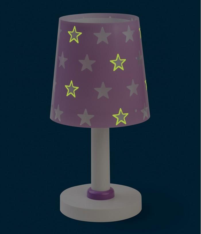 Candeeiro infantil de mesa Stars malva
