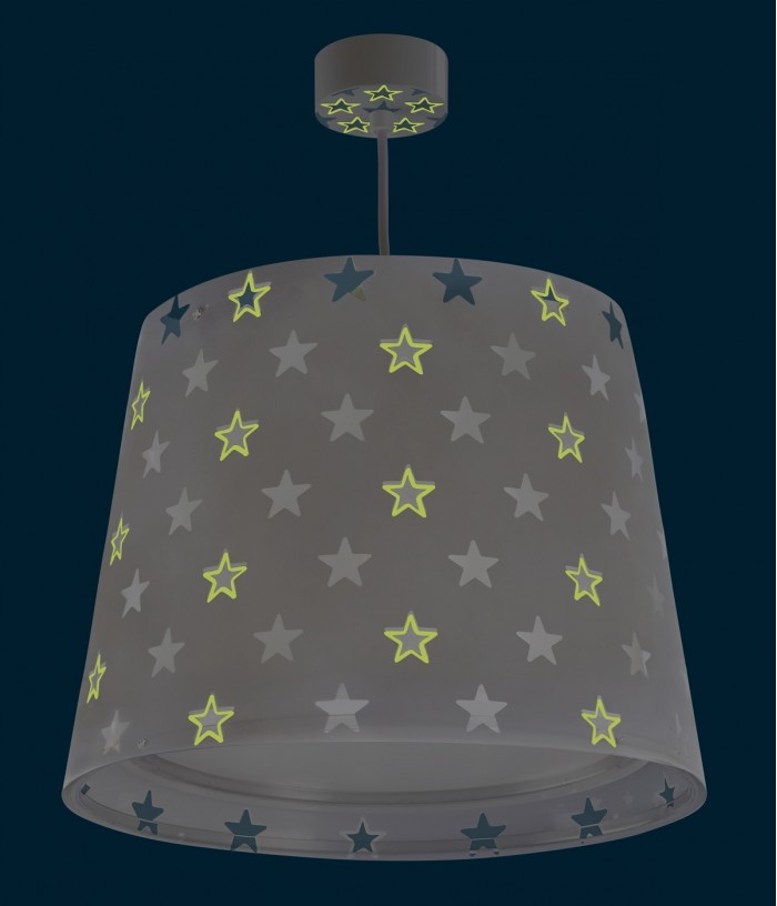 Candeeiro infantil de tecto Stars cinza