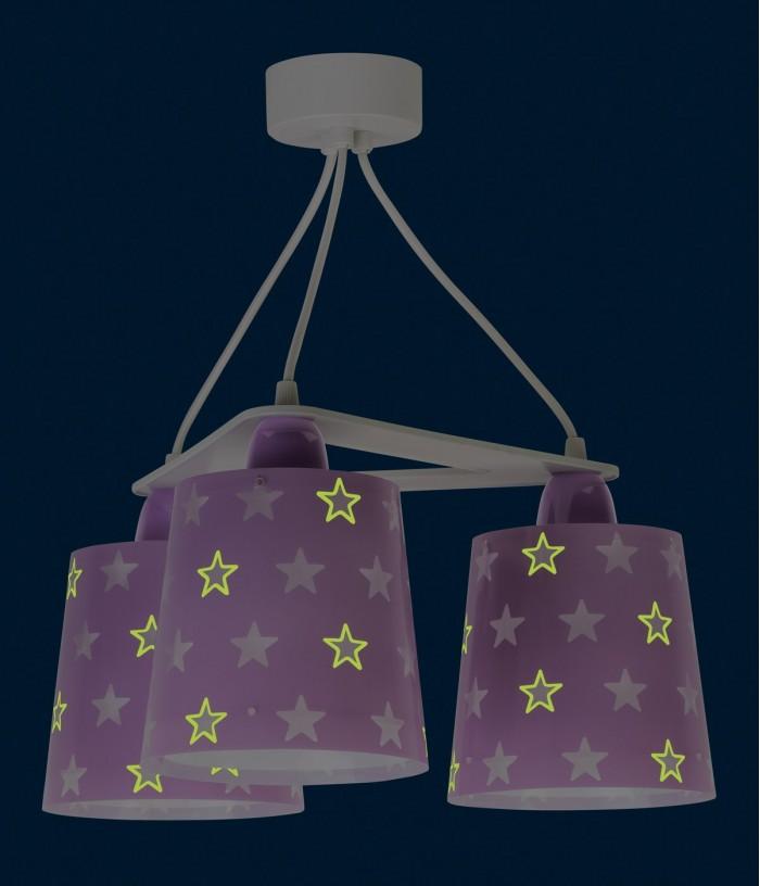Lampadario per bambini 3 luci Stars malva