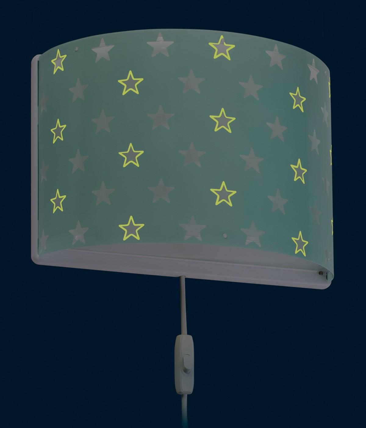 Children's wall lamp Stars green