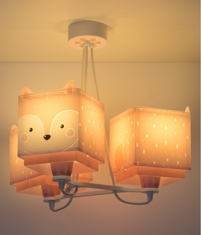 Candeeiro infantil de tecto de três luzes Little Fox