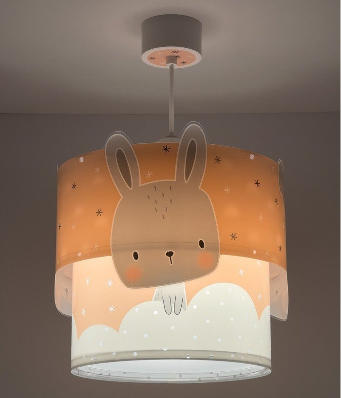 Children hanging lamp Baby Bunny coral