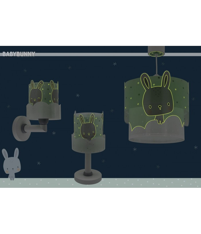 Children wall lamp Baby Bunny turquoise