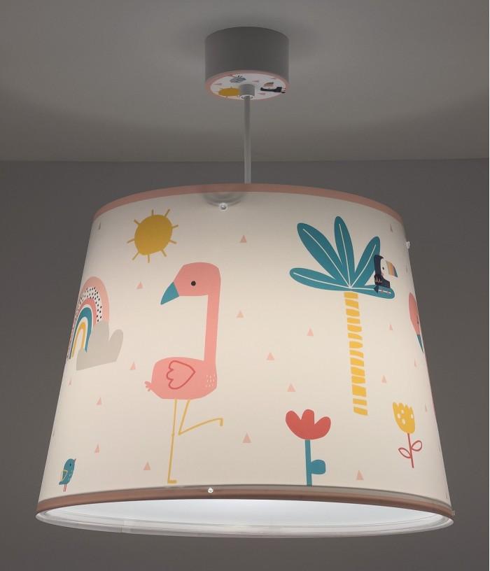 Candeeiro infantil de teto Flamingo
