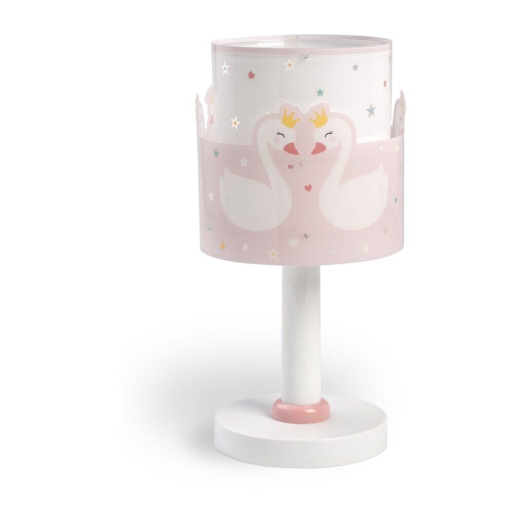 Lampada rosa per bambini con cigni e cuori Sweet Love