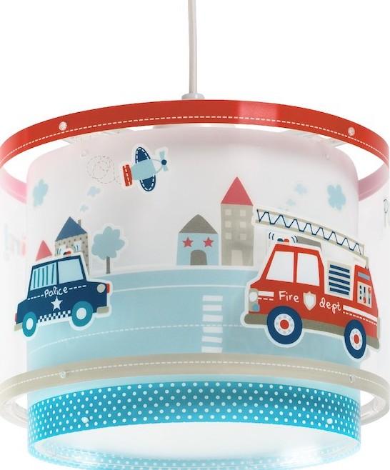 Lámparas infantiles con coches de policía y bomberos