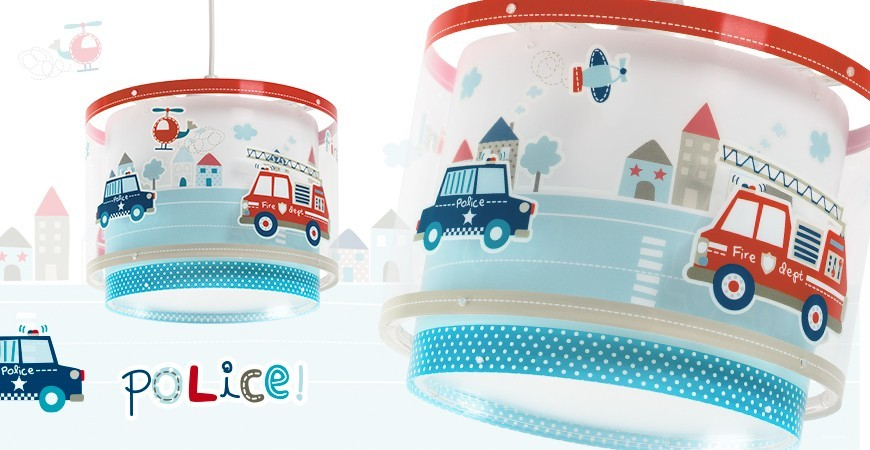 Lámparas Infantiles con vehículos de policía y bomberos Police