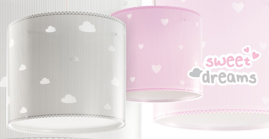Lámparas infantiles con nubes, estrellas y corazones Sweet Dreams